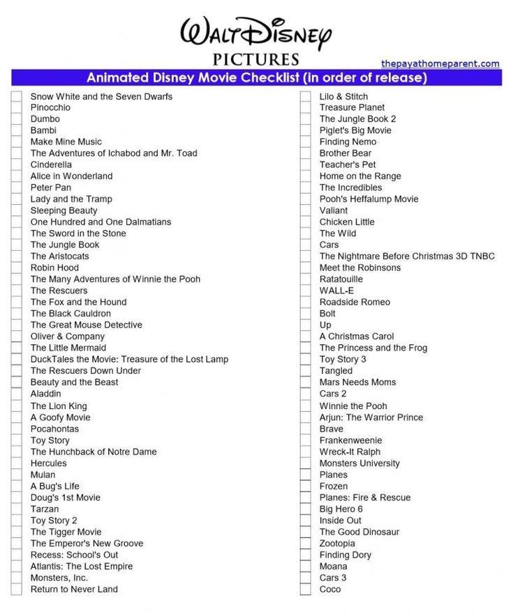 Free disney movies list of 400 films on printable