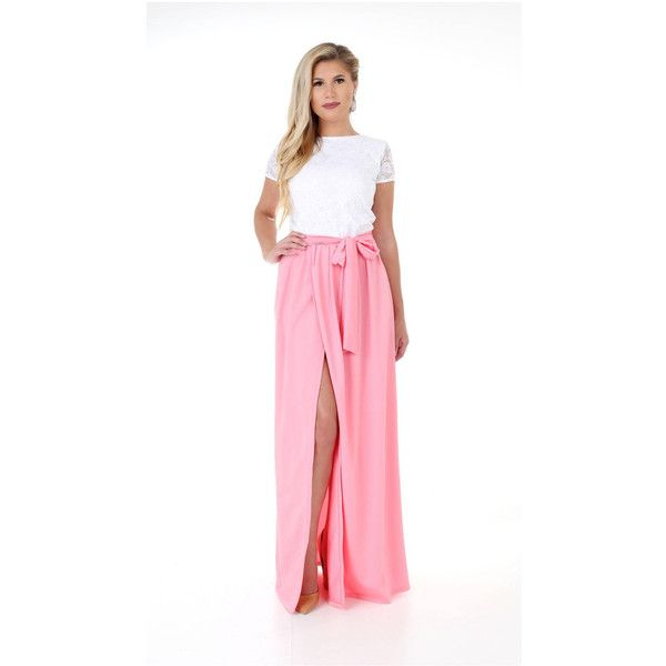 White Lace Top Pink Bottom Maxi Dress Round Neckline Short Sleeves