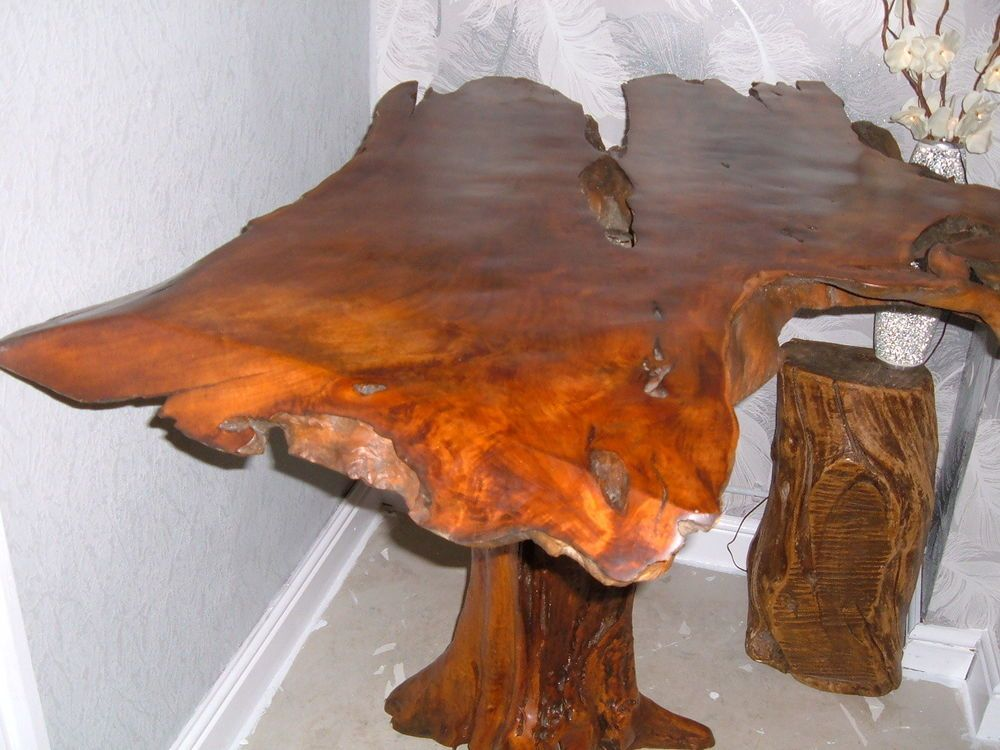Unique Reclaimed Rustic Yew Tree Root Wood Dining Table 39