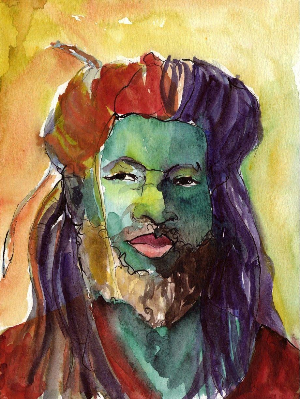 Art Painting Watercolor Rastafari Dreadlock Black Jamaican