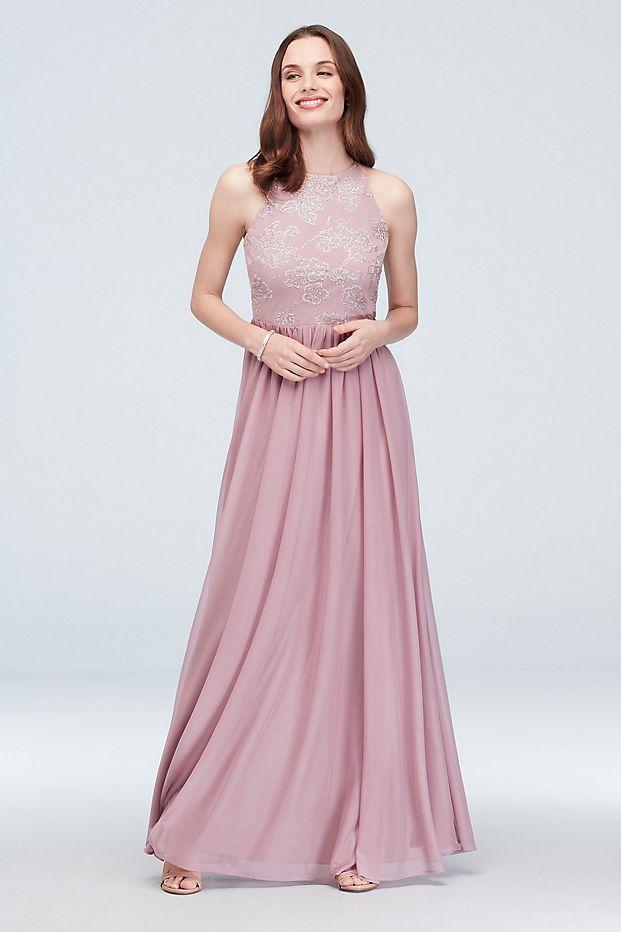 High Neck Caviar Beaded Floral Chiffon Dress Style W60087