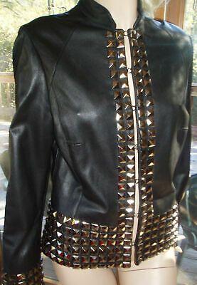 #Women #Black #Color #Genuine #Leather #Full #Studded #Heavy #Metal #Punk #Handmade #Jacket