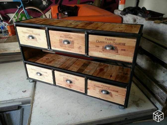 Meuble buffet caisses vin ameublement gironde meuble bois metal mobilier - Meuble tv caisse bois ...