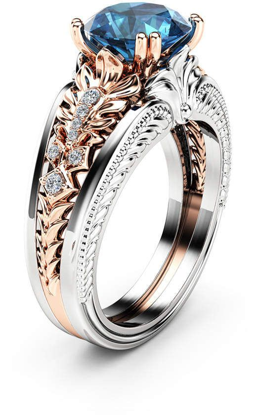 2 Carat Blue Diamond Vintage Engagement Ring En 2020 Anillos De Joyeria Joyas Bohemias Joyas