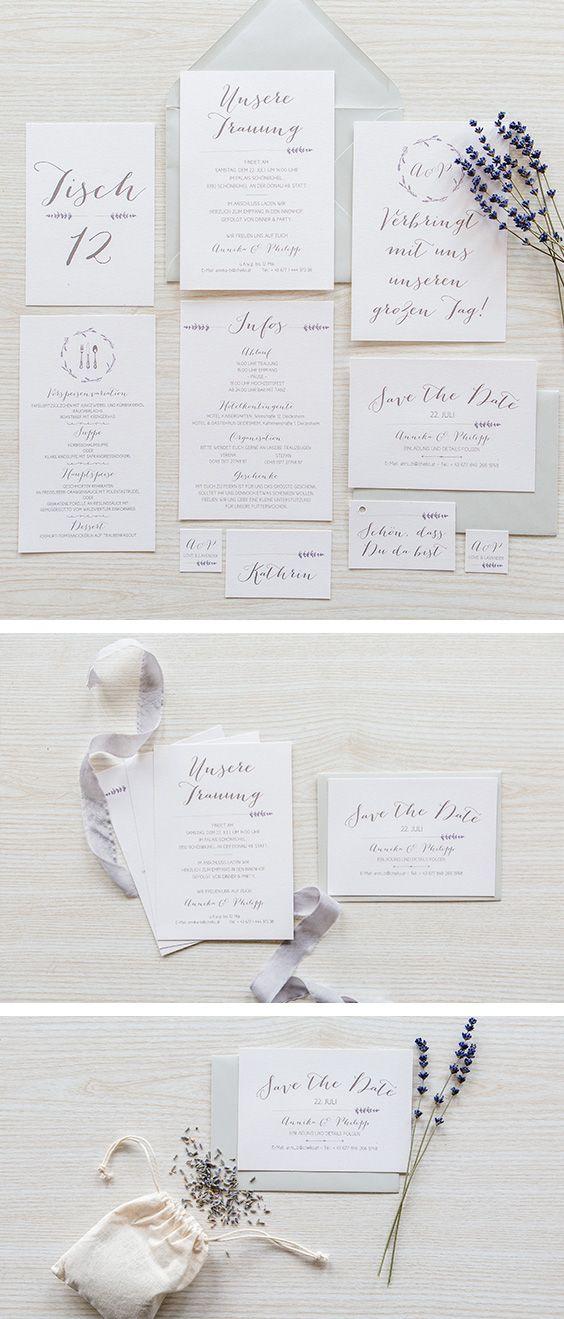 Einladungskarten Papeterie Lila Lavendel Karten Hochzeitskarten
