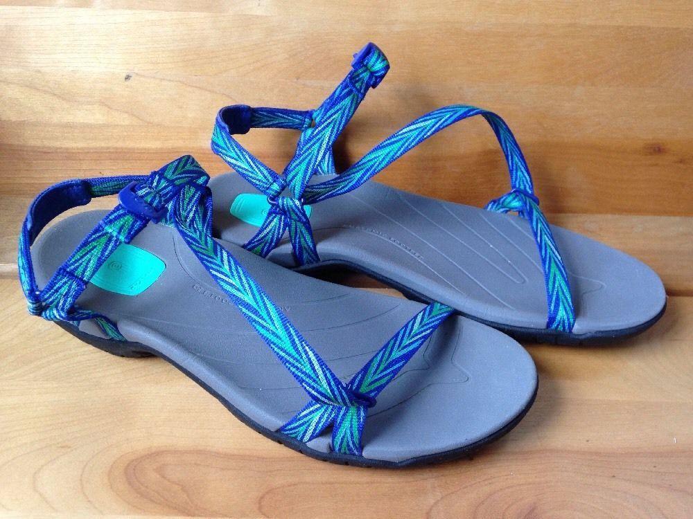 303cef839843e9 Teva Zirra Blue Green Thin Strappy Sandals Womens Sz 10 41 Water Shoe  Comfort