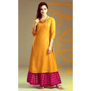 Poly Silk Orange Plain Unstitched Palazzo Style Suit - A50 | As ...