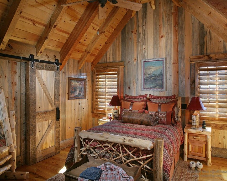 35 Idej Interera Zagorodnyh Derevyannyh Domov Vnutri Na Foto Rustic Bedroom Design Lodge Bedroom Cabin Bedroom