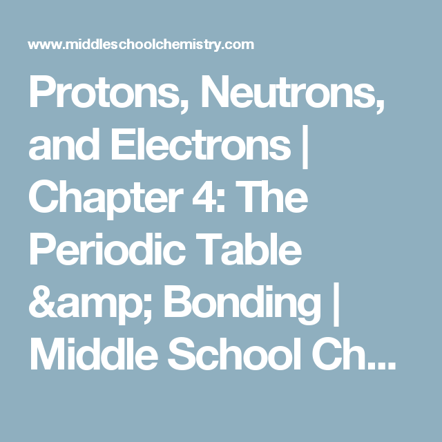 Protons Neutrons And Electrons Chapter 4 The Periodic Table