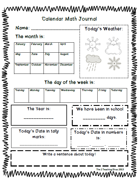 Kindergarten Calendar Sheets : The teaching divas calendar math journal school stuff