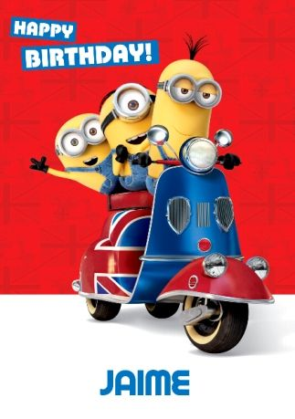Minions Scooter Happy Birthday Card Funky Pigeon Birthday Day