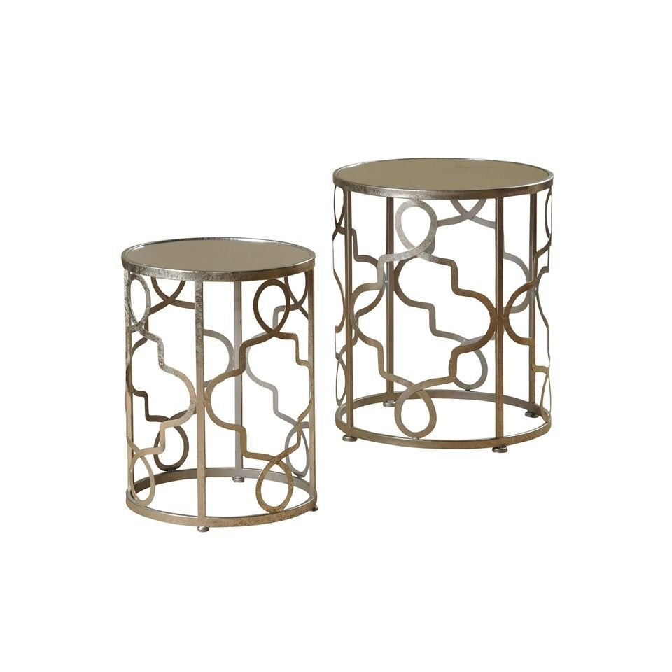 Nest Of 2 Round Metal Accent Tables In Silver Leaf Finish Mirrored Tops On  Both #