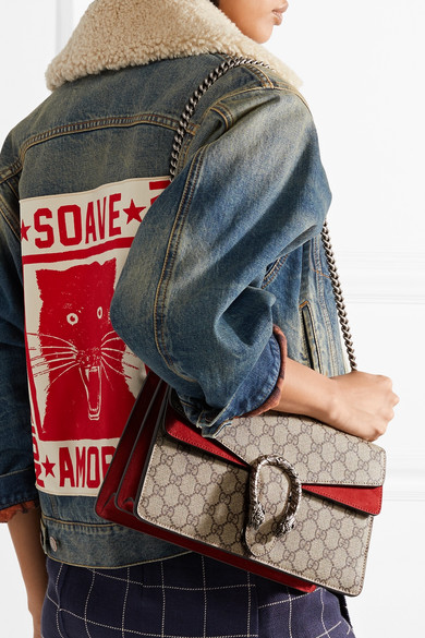 62ed4a0c9ae Gucci - Dionysus Medium Printed Coated-canvas And Suede Shoulder Bag ...