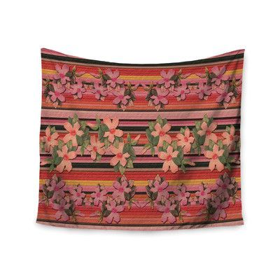 KESS InHouse Peach Hibiscus Stripe by Nina May Wall Tapestry Size: