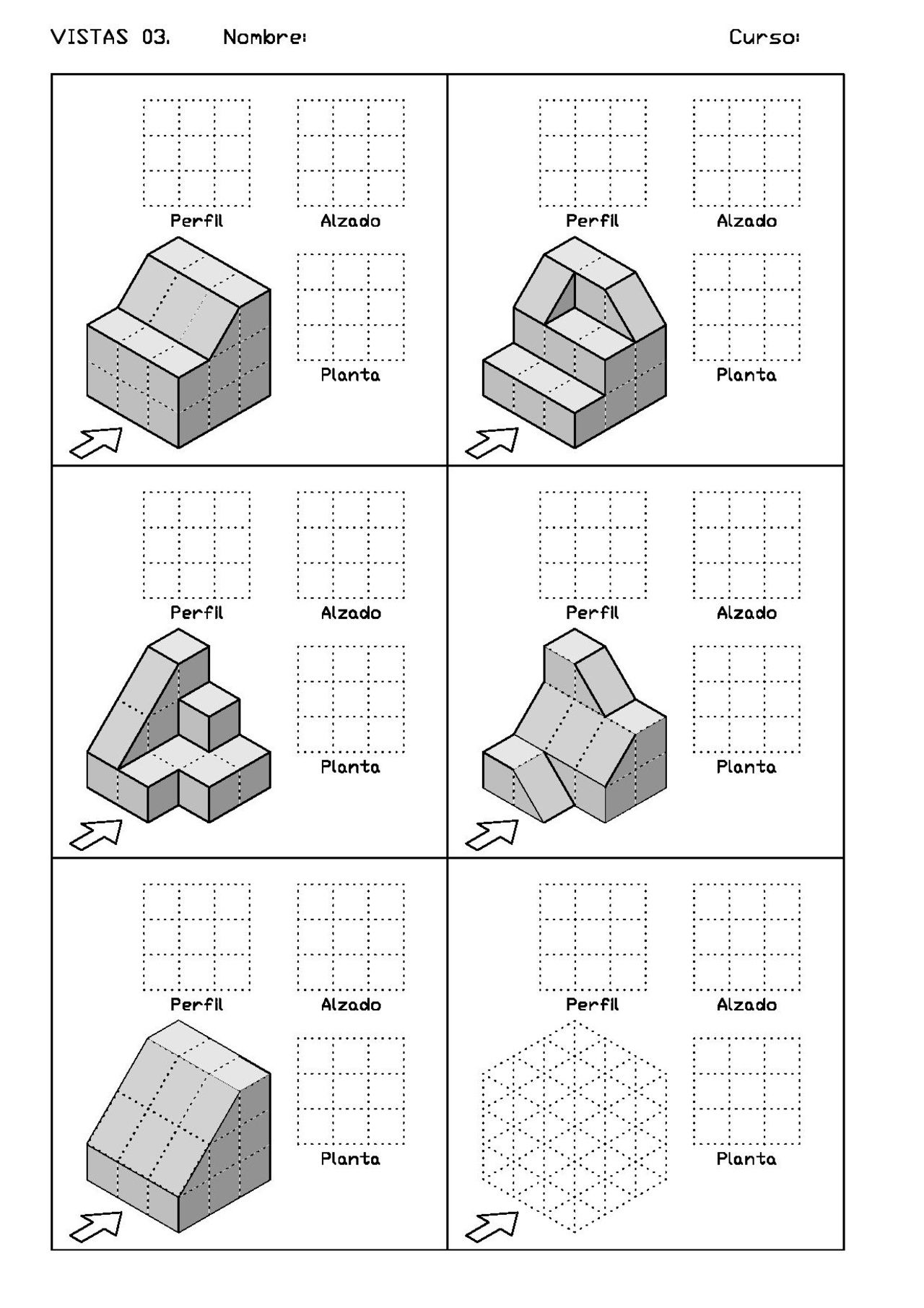 Ejercicios De Vistas Y Perspectivas Alzado Izquierdo Piezas Con Rampas Tecnicas De Dibujo Vistas Dibujo Tecnico Ejercicios De Dibujo