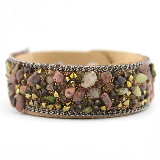 Leather Druzy Semi-Precious Stone Crystal Cuff Bangle Bracelet
