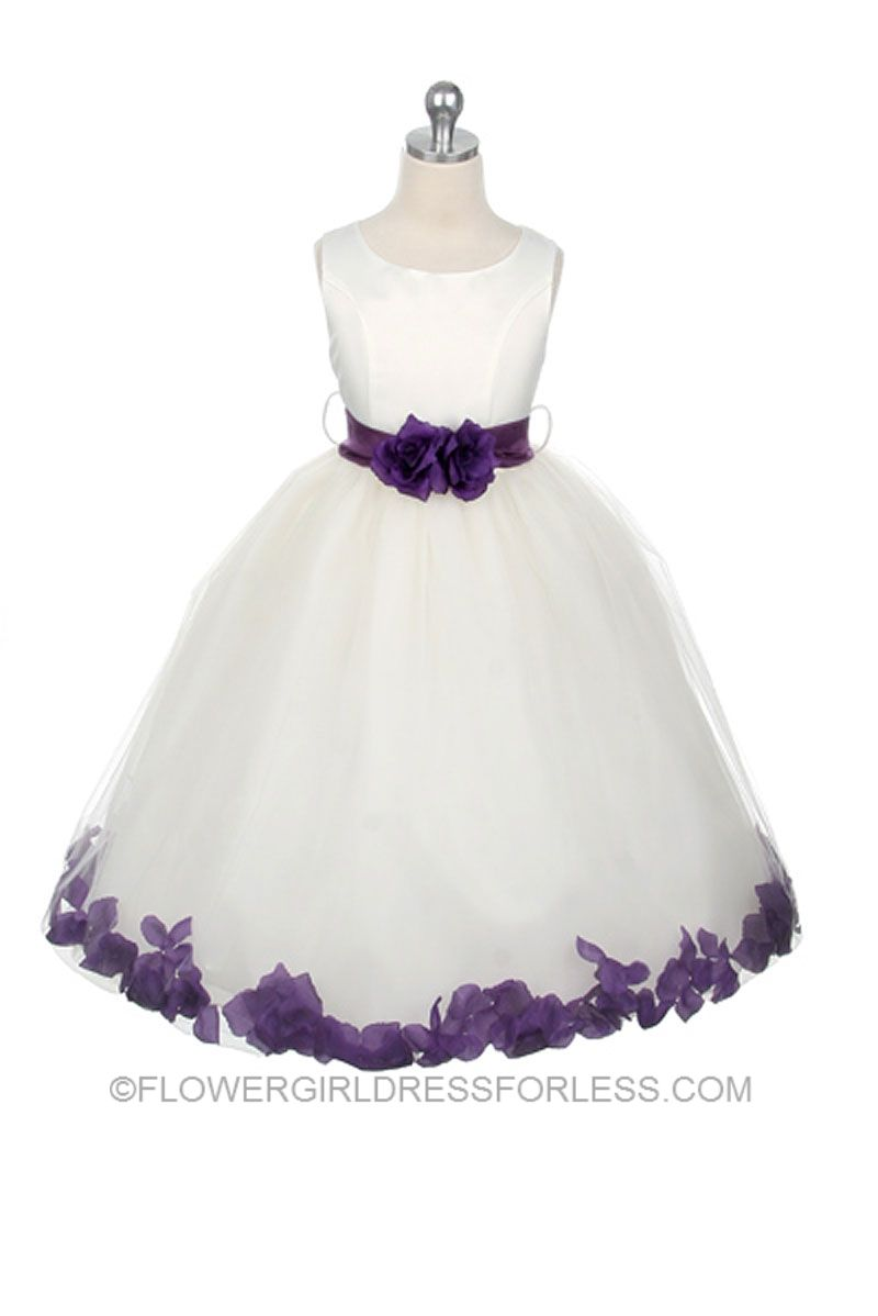 0e02552b6 Flower Girl Petal Dress Style 152- White or Ivory Dress with Purple Accents  $59.99