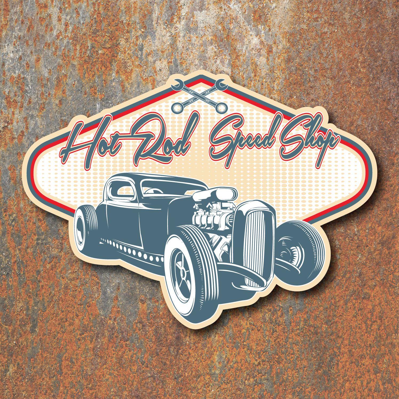 Hot Rod Speed Shop Sticker Vintage Retro Classic Custom Car Rat Decal Ebay Custom Cars Sticker Shop Retro Vintage [ 1498 x 1496 Pixel ]