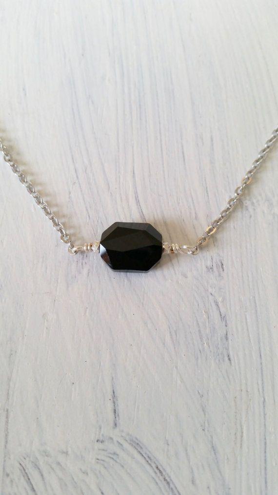Black Swarovski Crystal Bar Necklace Minimalist By Studio4150