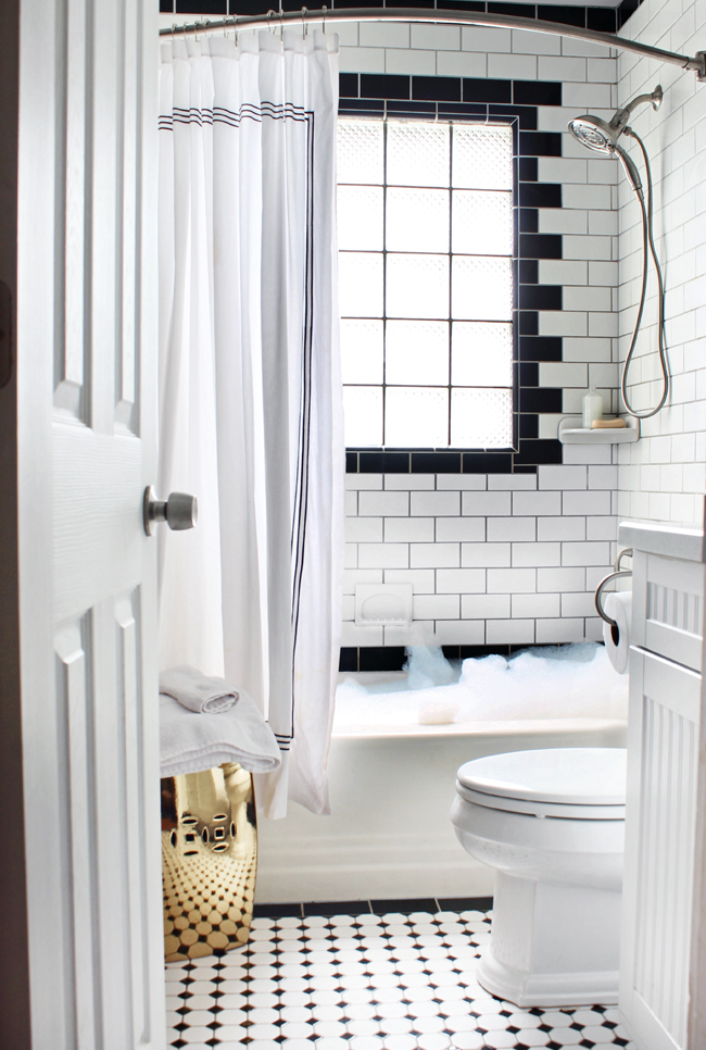 Favorite Things Friday  White Tiles Small Bathroom And Stools Awesome Small Black And White Tile Bathroom Inspiration