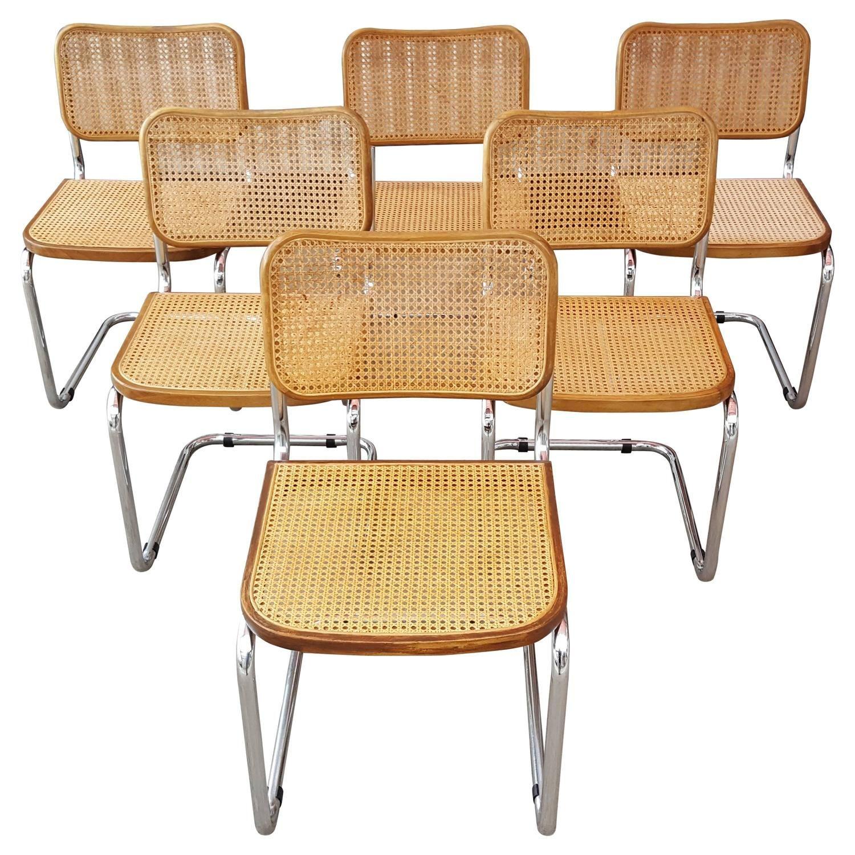Marcel Breuer Cesca Tubular Chrome Steel And Cane Dining Chairs