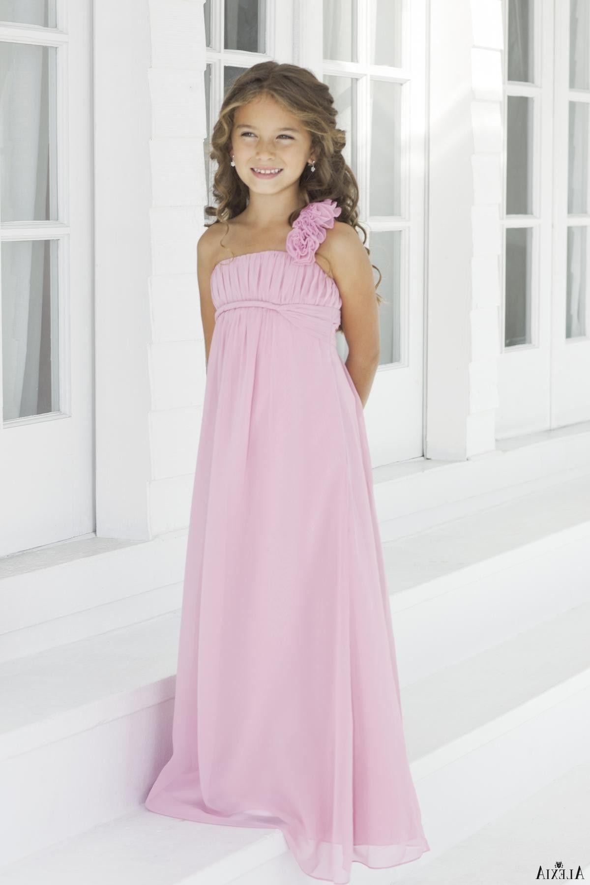 One-shoulder Chiffon Long Junior Bridesmaid Dress(WPD0257) | wedding ...