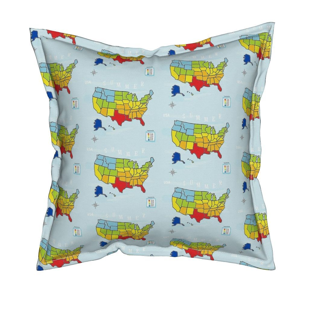 Serama Throw Pillow featuring MAP USA - MEDIUM  Summer  by drapestudio | Roostery Home Decor
