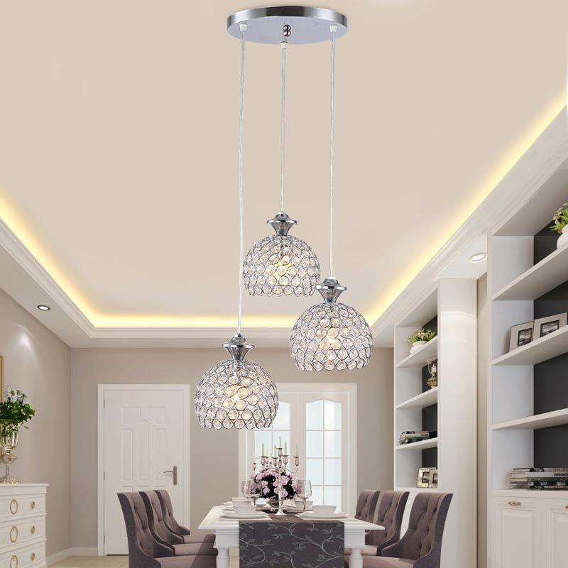 Modern Crystal Pendant Light Fixtures Restaurant Kitchen Dining Room Hanging Lamp Chrome Iron E27 220V For Decor Home Affiliate