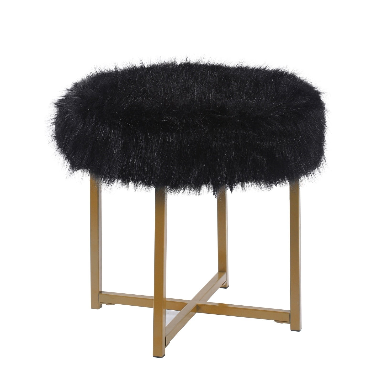 Surprising Round Faux Fur Upholstered Ottoman With X Shape Metal Base Bralicious Painted Fabric Chair Ideas Braliciousco