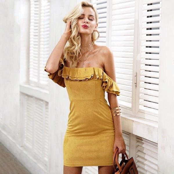 f4de604c0224f0 Product Description: Buy 2017 suede fashion off shoulder with ruffle  backless sexy women's suede bodycon dress by PesciModa Details: Material:  Polyester, ...
