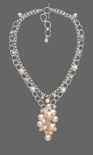 Double-Strand Necklace with Swarovski® Crystal Beads and Pearls and Sterling Silver Chain - Fire Mountain Gems and Beads