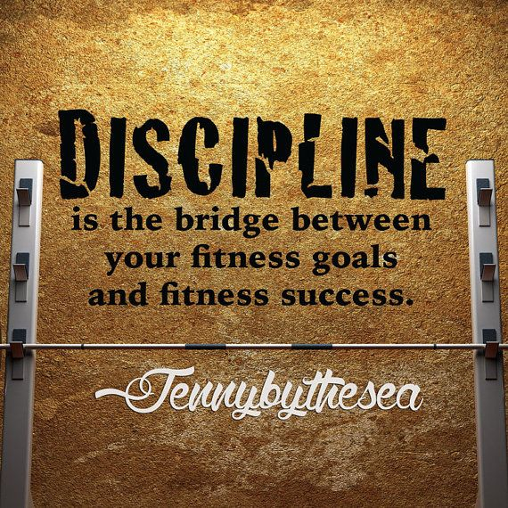 Items Similar To Motivational Gym Wall Decal Discipline Fitness Quote Wall  Sticker Art On Etsy