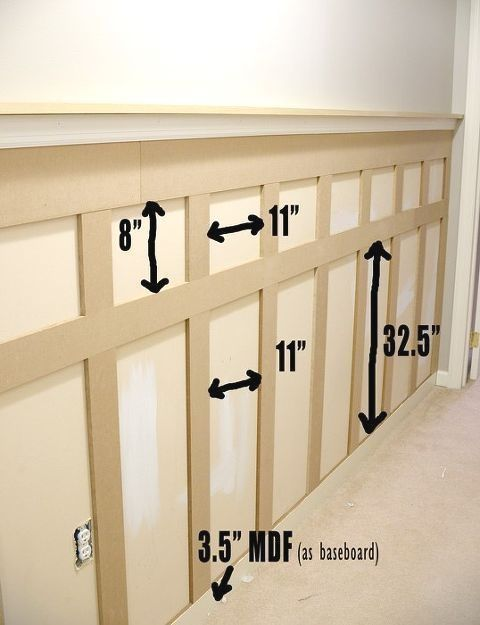 After #much #online #searching, #I #decided #to #do #an #inexpensive #board #and #batten #wall #treatment #in #our #upstairs #hallway, #with #a #narrow #shelf #at #the #top #where #I #coul… #boardandbattenwall