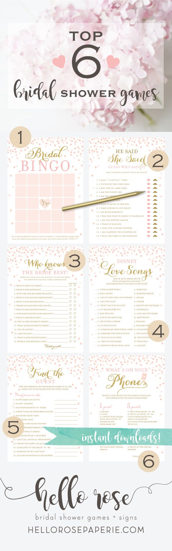 top 6 bridal shower games you need at your bridal shower they are printable instant downloads just print cut and play easy peasy hello rose paperie