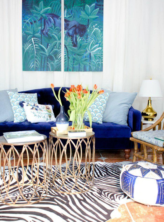 Wohnideen Wohnzimmer Blaues Sofa Zebra Teppich