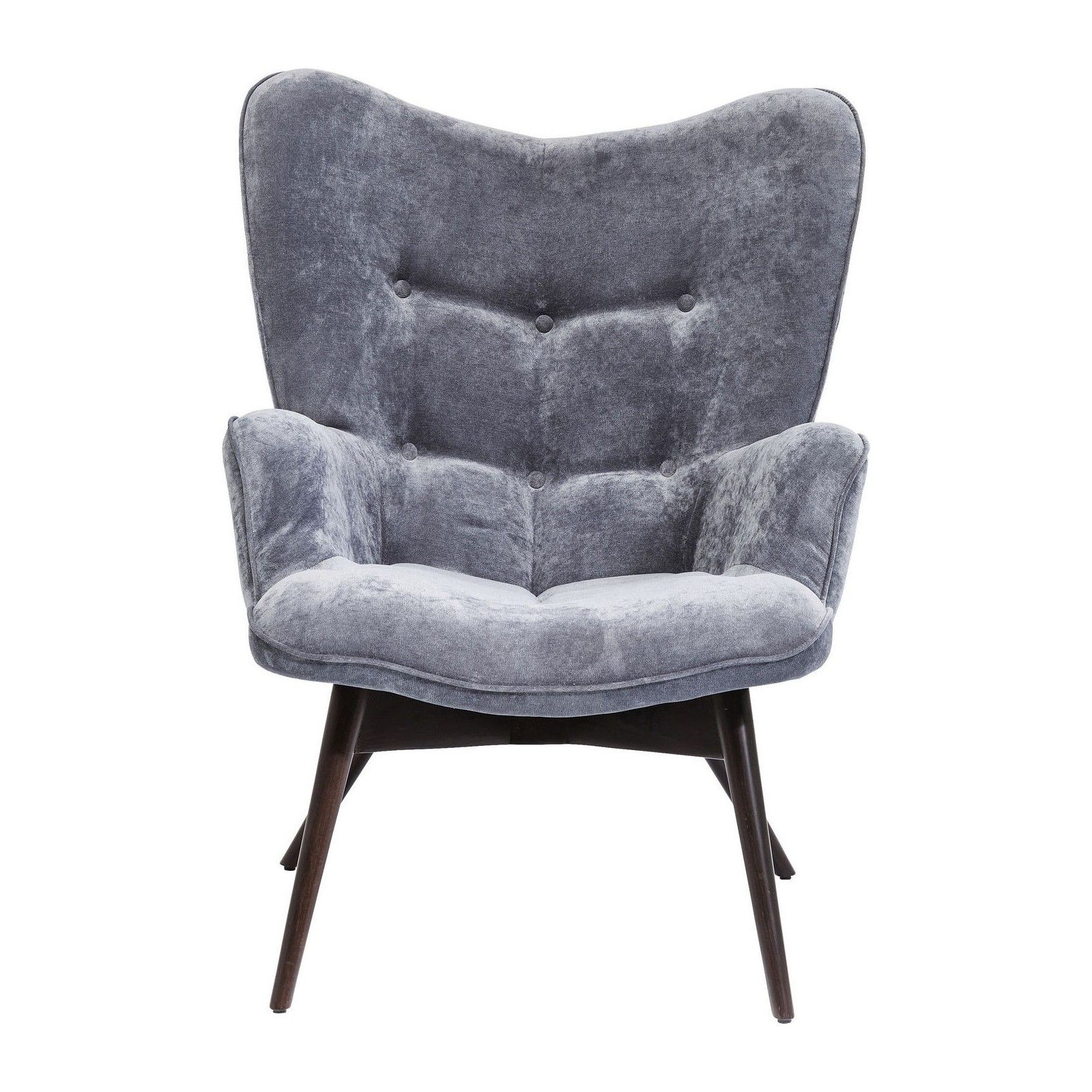 Design Retro Fauteuil.Fauteuil Vicky Velours Gris Kare Design Collection