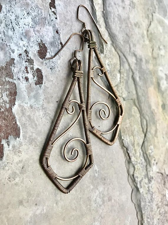 Hand Forged Copper Wire Wrapped Earrings | Traé Be True Jewelry ...