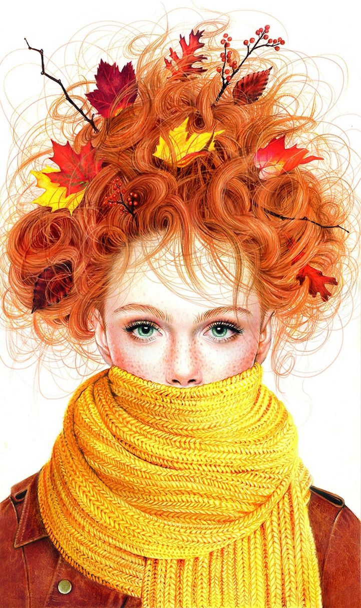 Vibrant Illustrations Blend Beauty of Nature and Fashion with Colored Pencils