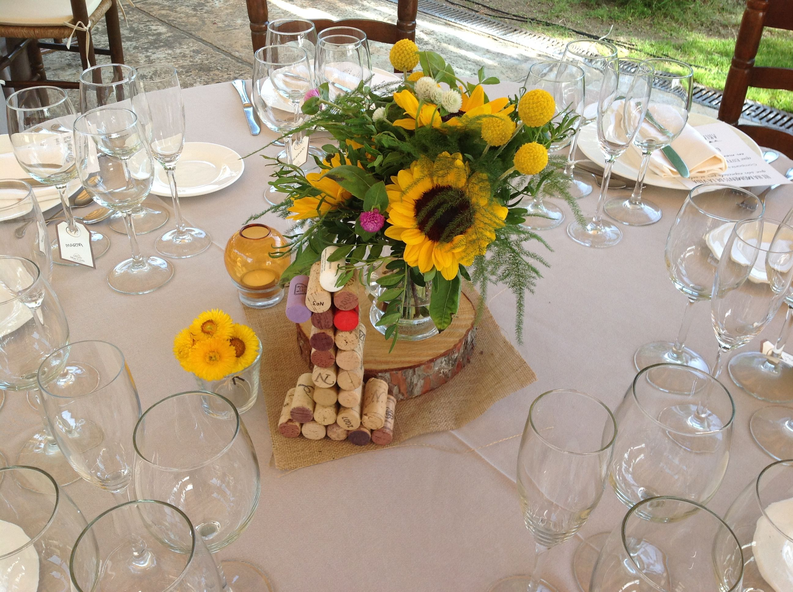 Centro mesa girasol par bodas r sticas boda clem kike - Mesas de centro rusticas ...