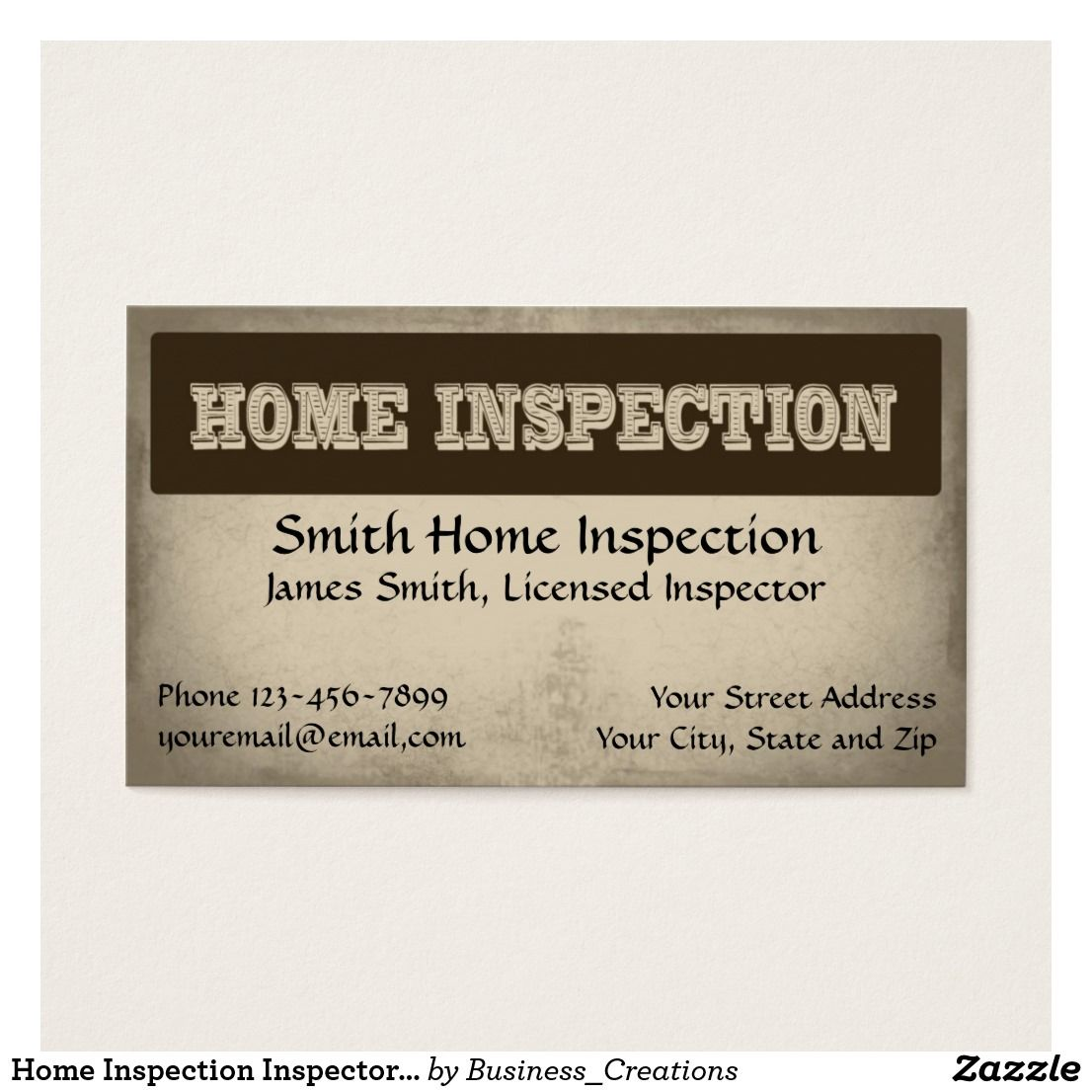 Home Inspection Inspector Business Card | Business cards and Business