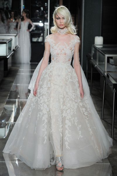 Embroidered Illusion Reem Acra Wedding Dress Http Www Stylemepretty 2017 05 01 Most Beautiful Spring 2018 Dresses Photography Mani Zarrin