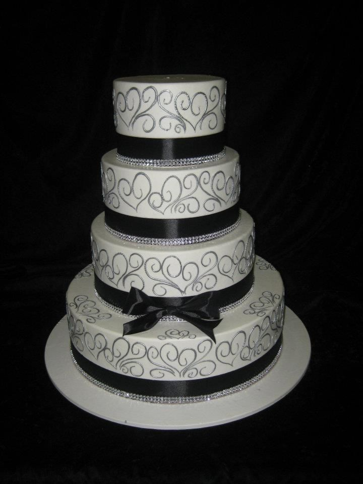 Black And Silver Cake | Craft Wedding Cake Serving Sets, Engraved ...