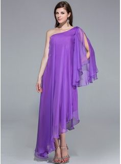 A-Line/Princess One-Shoulder Asymmetrical Zipper Up at Side Sleeves Long Sleeves Other Colors Spring Summer Fall General Plus Chiffon Evening Dress