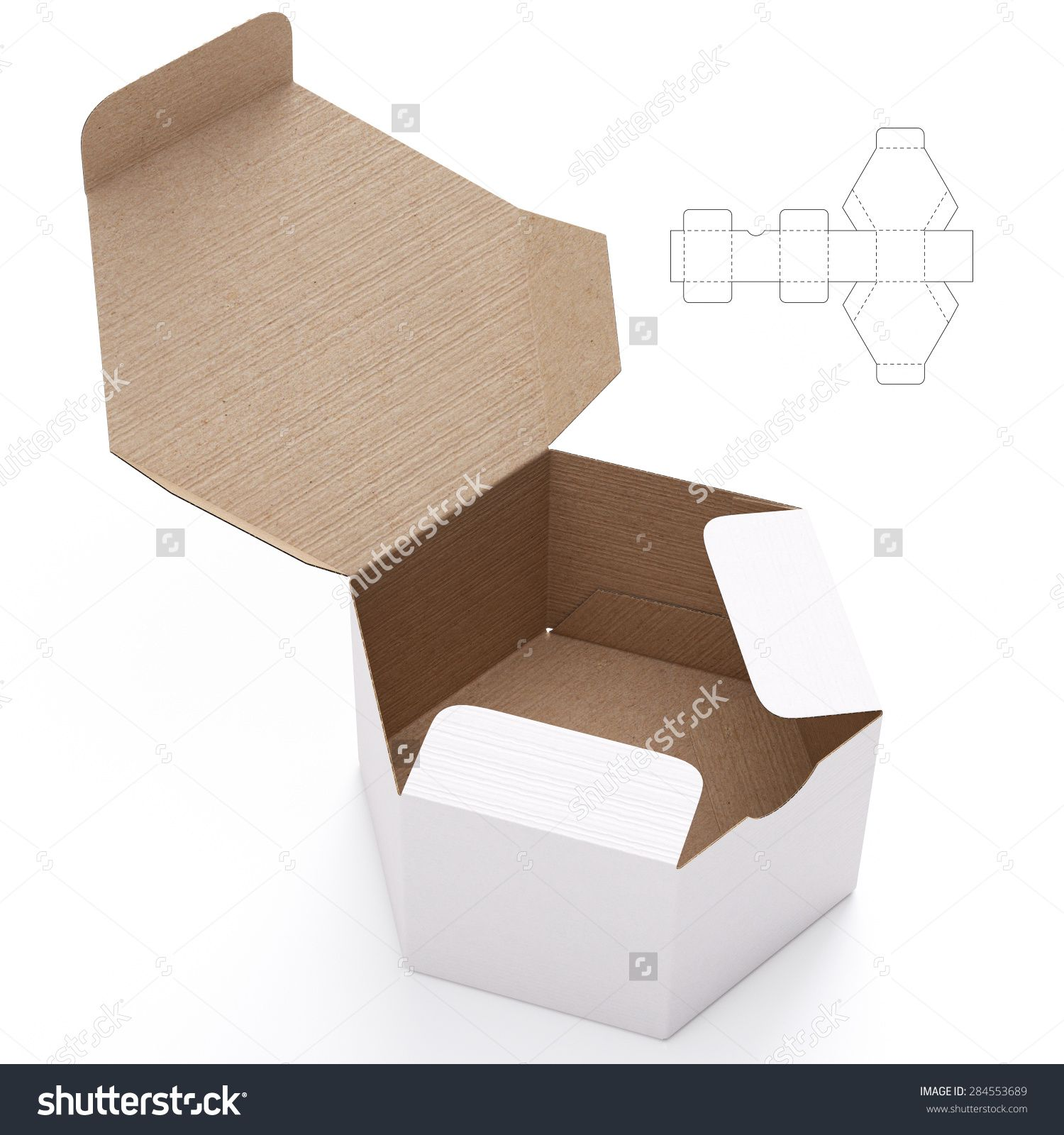 Hexagonal Cardboard Open Box With Die Cut Template On White Background Stock Photo 284553689 Shutterstock