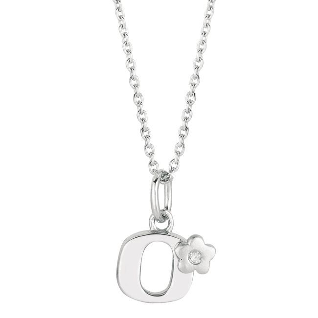 Sterling Silver Diamond Accent Flower Design Initial Necklace (H-I, SI2) (Initial