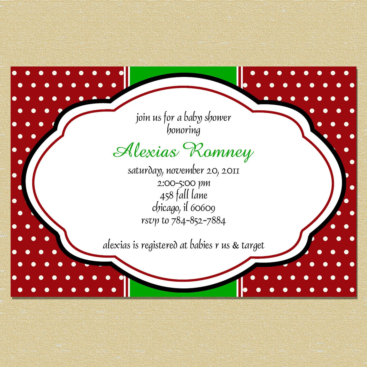 Christmas Red & Green Damask Bridal Or Baby Shower Invitation