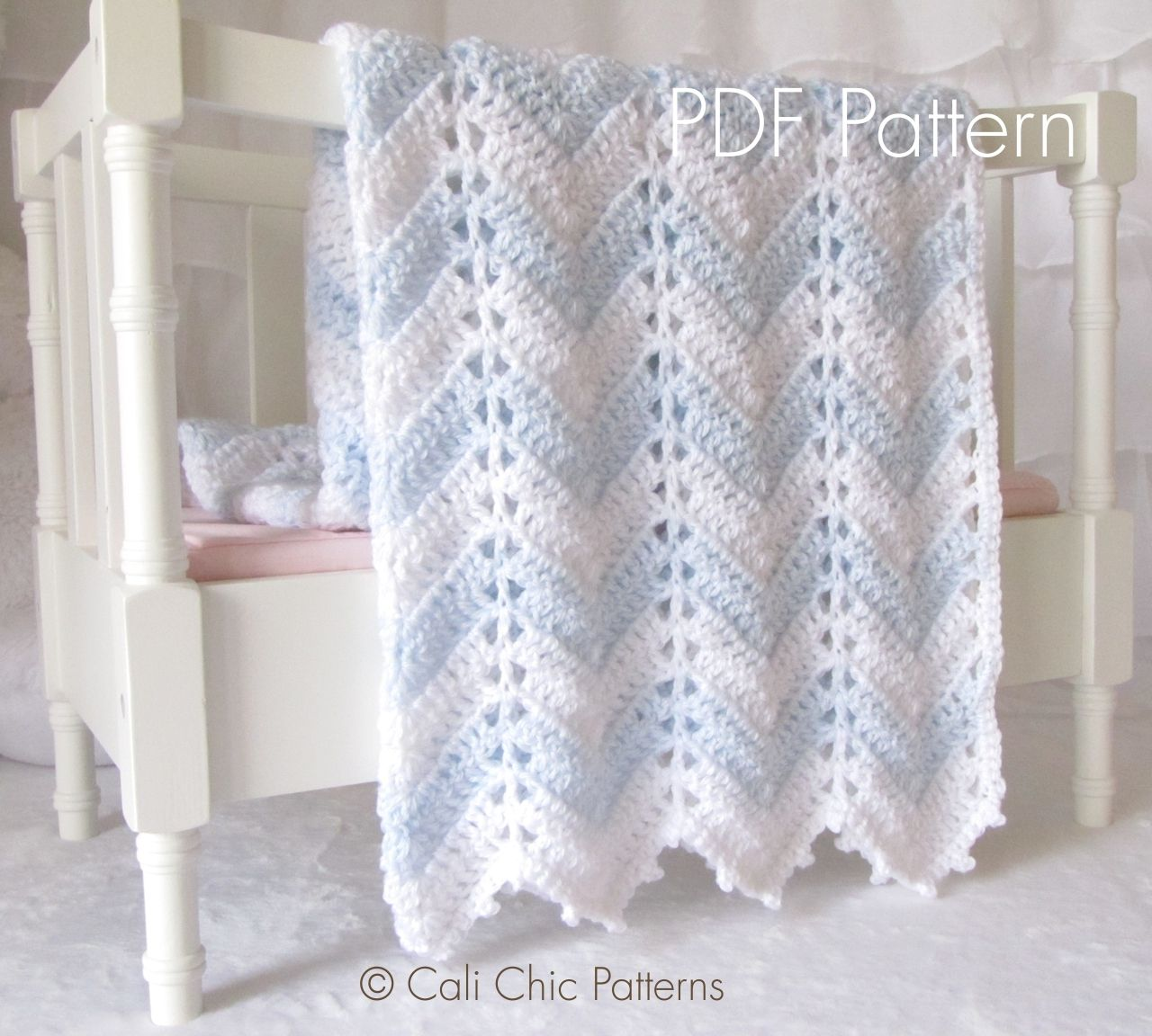 Crochet Blanket PATTERN 55 - Chevron Series - Baby Blanket PATTERN ...
