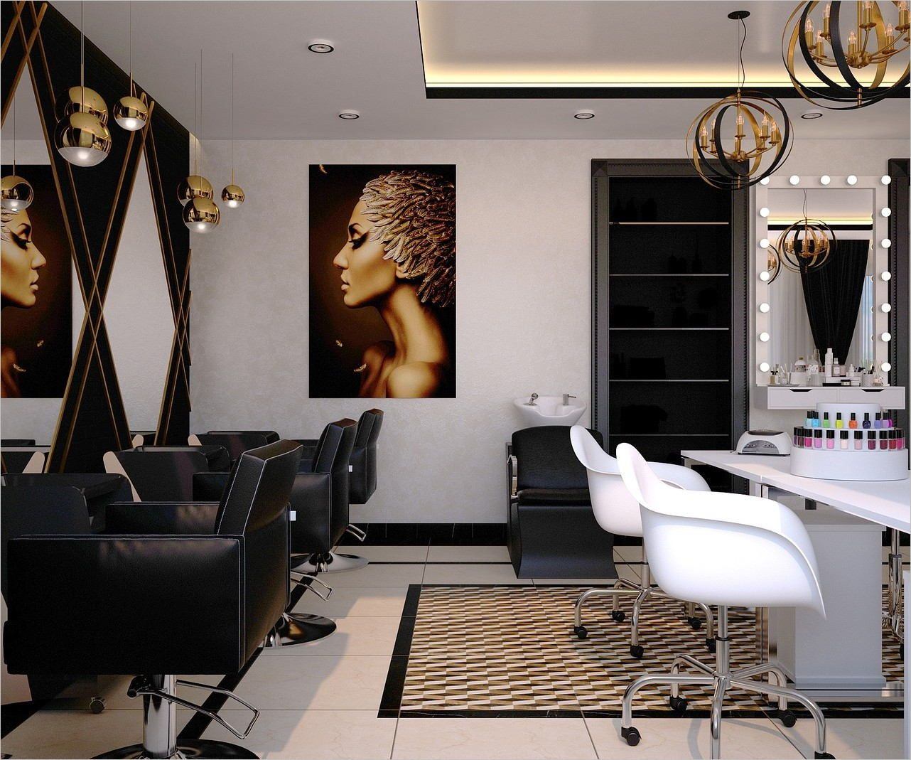 Plan D Un Salon De Coiffure Moderne Grand Nail Salon Beauty Salon Salon Business