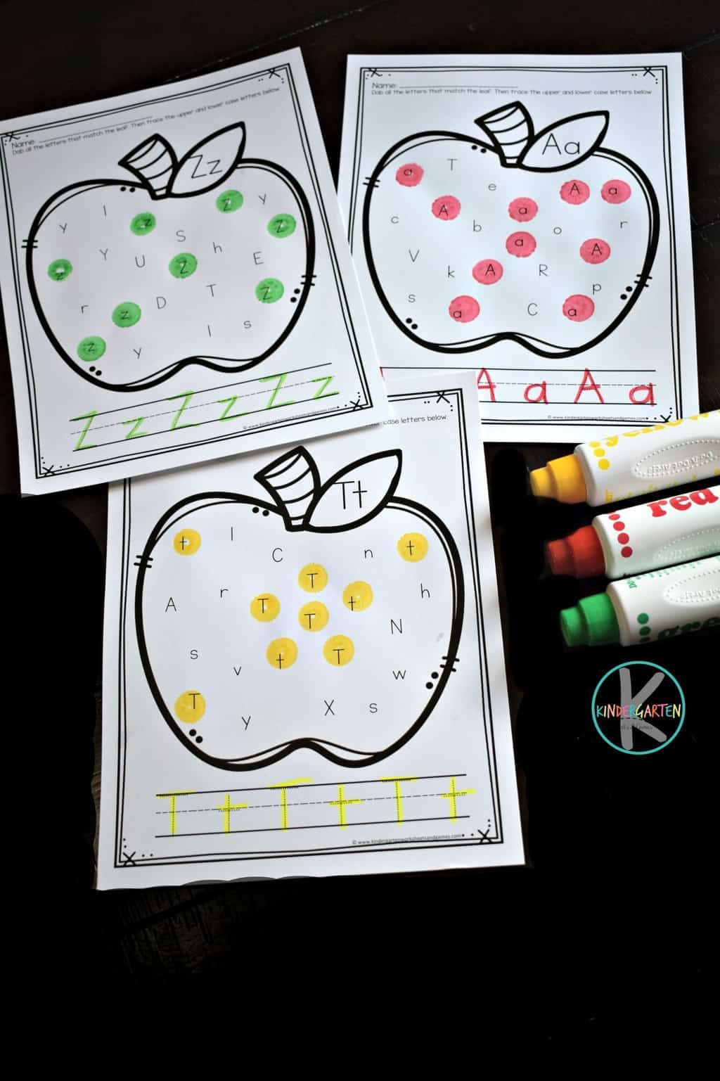 Apple Alphabet Letter Tracing Worksheets