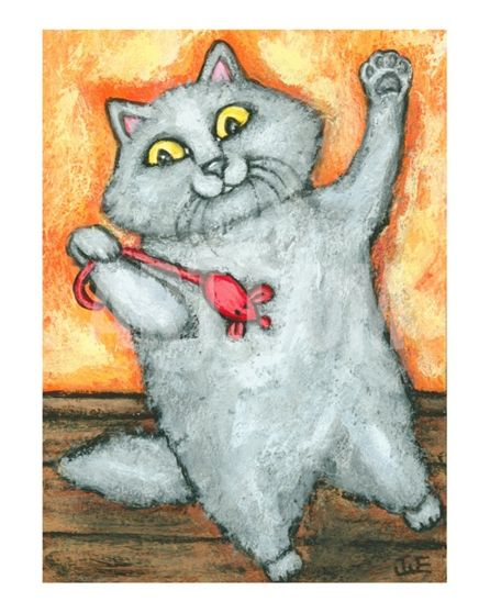 Grey Cat With Red Mouse Toy Giclee Print by Jamie Wogan Edwards at Art.com